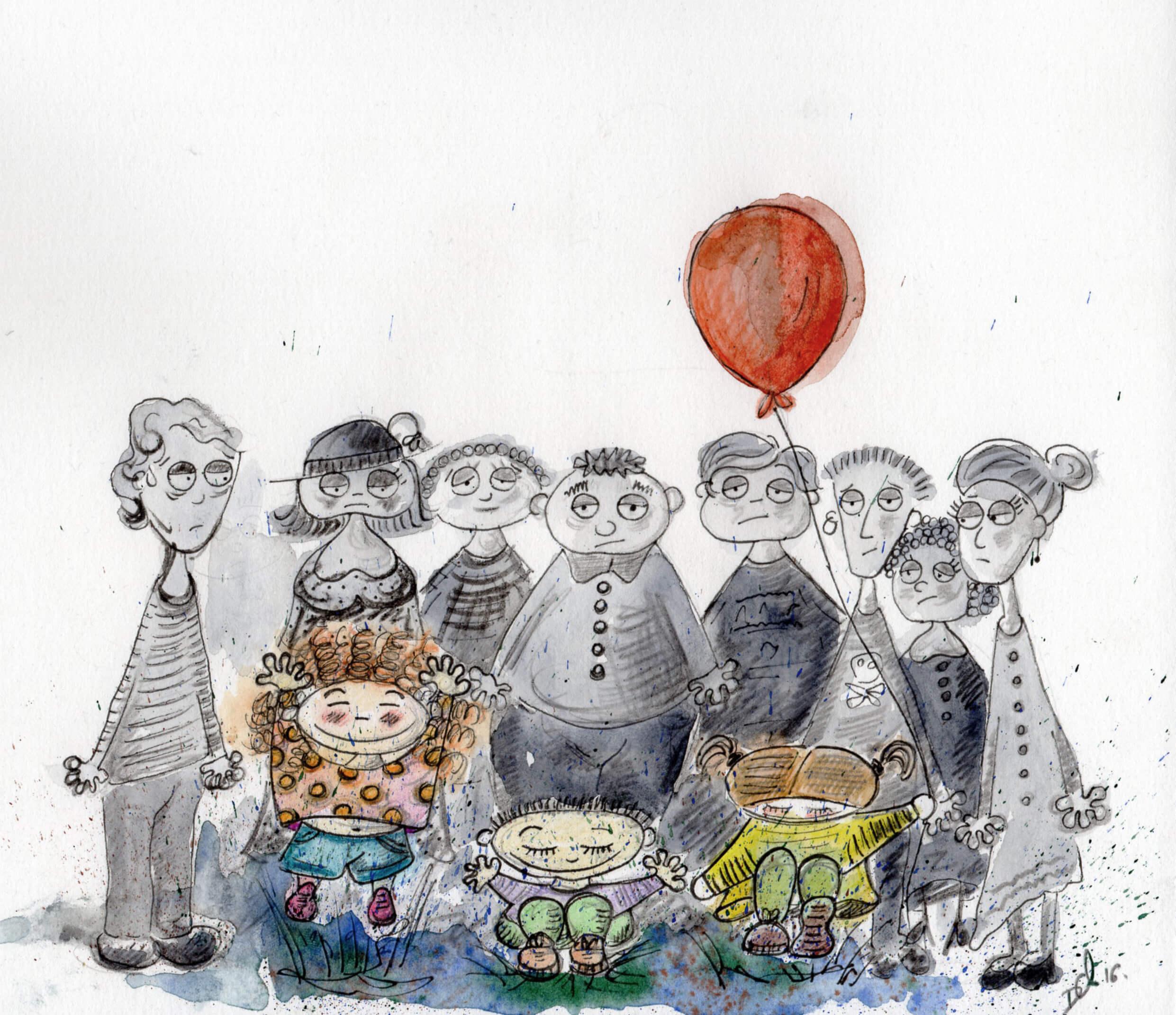 """No hay niños """"incordio"""", sólo se rodean de adultos grises_Acuarela, grafito, lápices"""