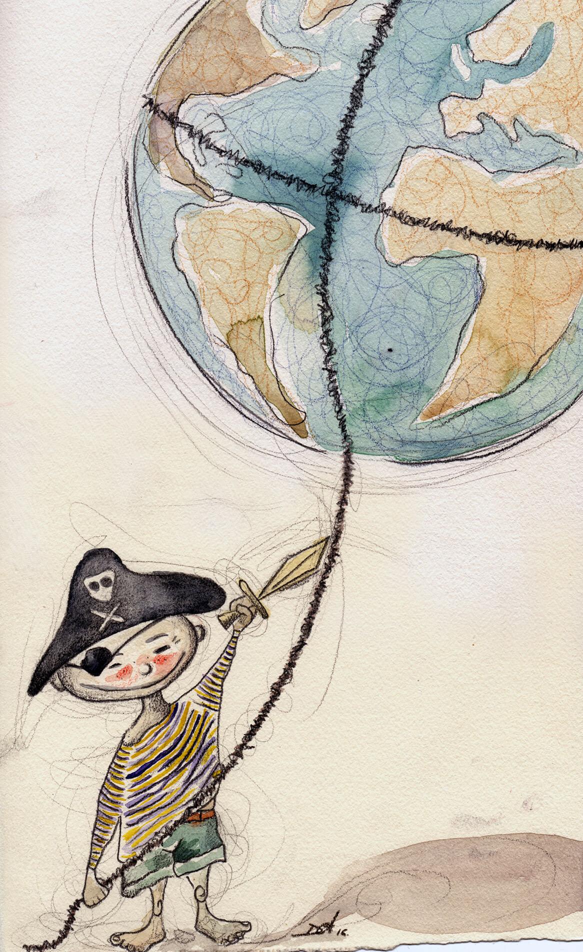 El mundo es de los valientes (que lo intentan)_Acuarela, lápices y grafito