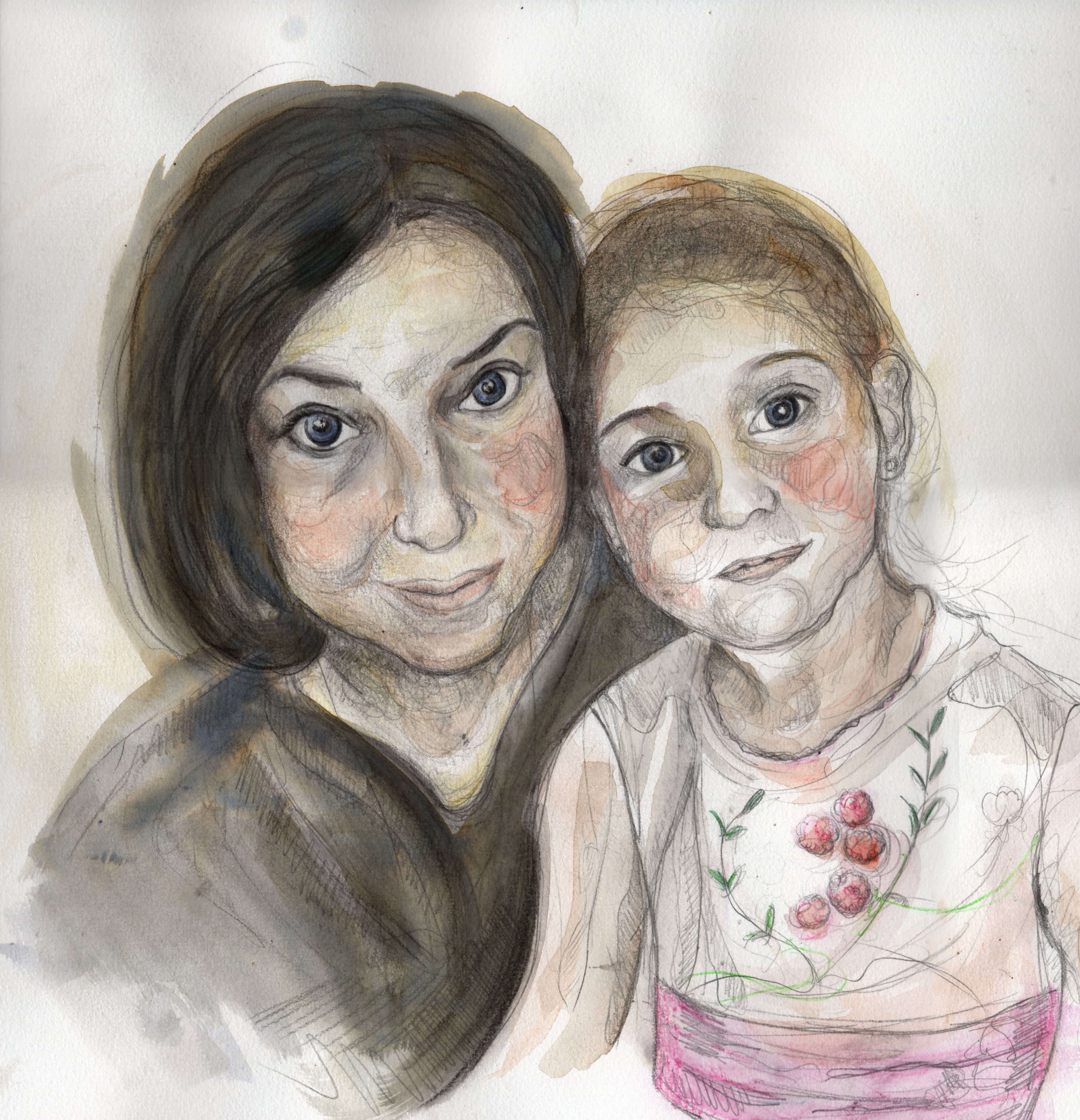 Laura y Noelia_acuarela, lápiz